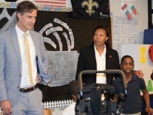 Louisiana State Superintendent of Education John White visits with a special education class at Rougon Elementary.